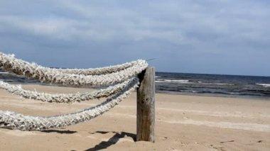 Vodítko lano moře pláž — Stock video