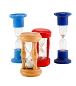 Different sand glass clocks timers isolated white — Stock Photo
