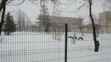 Kindergarten winter snow — Stock Video