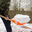 Stock Photo: Mcamouflage shovel tool clesnow roof winter