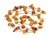 Necklace collar baltic gold amber stone on white — Stock Photo