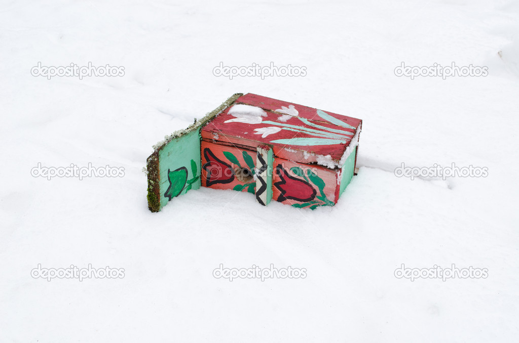 Colorful painted bird nesting box lie fallen on snow in winter.  — Stock Photo #19027561