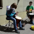 Stock Video: Kid play drum music