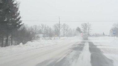 Car snow winter tractor — Stock Video