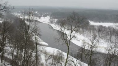 River floe park winter — Stockvideo
