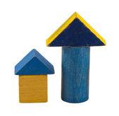 Brique de jouet en bois journal bleu rétro isolé sur blanc — Photo