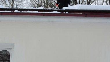 Worker drop snow roof — Stock Video