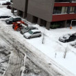 Stock Video: Clean snow parking lot