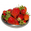 Stock Photo: Ripe strawberry healthy fruit steel dish isolated
