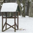 Bird  feeder winter snow - Stock Photo