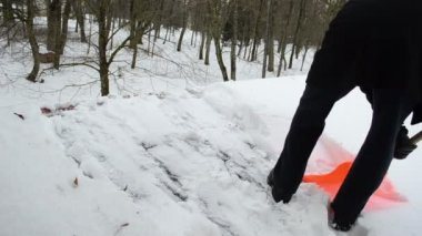 Man plastic shovel tool clean snow roof winter — Stock Video