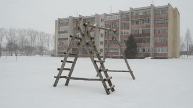 Playground snow fall — Stockvideo
