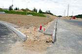 Road construction site car roundabout wire — Стоковое фото