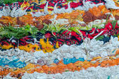 Colorful grunge dirty carpet wool thread closeup — Stock Photo