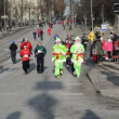 Stock Video: Take part in Christmas santmarathon run holidays event