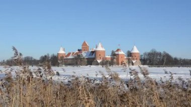 Tourists recreate Trakai castle snow frozen lake reeds — Stock Video