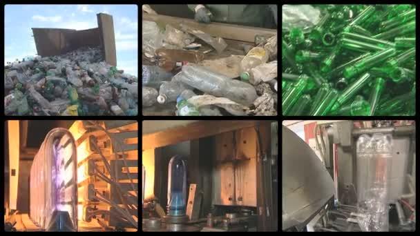 Botellas de pet de montaje collage reciclar fábrica industrial de producción — Vídeo de stock