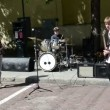 Students play guitar drums in street. hard rock — Stock Video