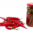 Foto Stock: Ecological hot chilli pepper canned glass jar