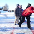 Winter recreation play eisstock curling game Trakai castle — Stock Video