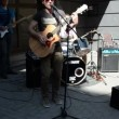 Artists play rock with guitar drum sing oldtown street — Stock Video