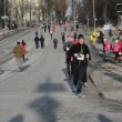 Stock Video: Run Christmas santclaus marathon holidays event sport