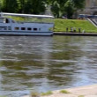 Vilnius city center fragment. neris river flow ship moored — Stock Video #20717119