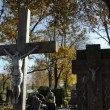 Vídeo Stock: Cross crucified jesus stone monuments rural autumn graveyard