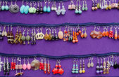 Handmade decorative earring jewelry sale fair — Stock Photo