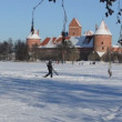 Stock Video: Man carry ski frozen lake Trakai castle winter active recreation