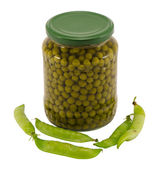 Canned preserve pease glass pot jar raw shell food — Stock Photo
