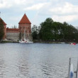 Yacht move in wind. recreate trakai castle — Stock Video #21853145