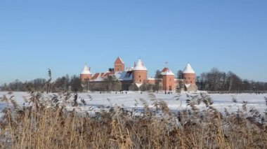 Tourists recreate in Trakai castle snow frozen lake reeds — Stock Video