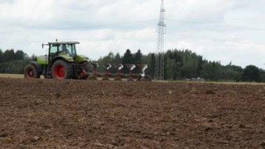 Agriculture works tractor plow field stork walk look food — Stock Video