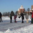Play eisstock curling skate frozen lake ice Trakai winter — Stock Video