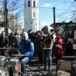 Stock Video: Musiciplay music drums accordion street event vilnius