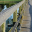 Wooden lake bridge railing closeup blur focus change water — Stock Video