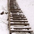 Wooden stairs railings huge steep hill cover snow winter park — Stockvideo