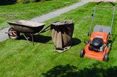 Cortador de grama e carrinho de mão para jogar na grama — Fotografia Stock