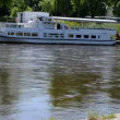 Vilnius city center fragment. neris river flow ship moored — Stock Video