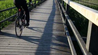 Holzbrett plank brücke geländer durch see bicicle übergeben — Stockvideo