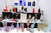 Vidro vaso prato venda exterior justo mercado de artesanato — Fotografia Stock