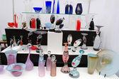 Glass craft vase dish sale outdoor fair market — Foto Stock