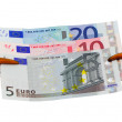 Cancer claw european euro cash money banknotes - Stock Photo