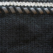 Woollen knit sweater leather stitch closeup — Stock Photo