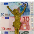 Stock Photo: Concept gold jesus crucify euro cash banknotes