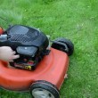 Stock Video: Refill fill grass lawn mower cutter fuel tank