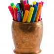 Colorful felt tip pens retro copper bowl isolated — Stock Photo