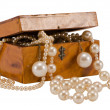 Pearl bead jewelry chain retro wooden box isolated - Stock Photo