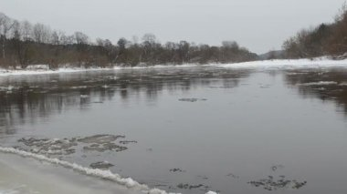 Bosque río fragmento témpano de hielo flotante agua invierno — Vídeo de stock